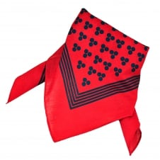 Red With Navy Blue 3-Dot & Stripes Bandana Neckerchief