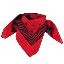 Red With Navy Blue Stripes & Polka Dot Bandana Neckerchief