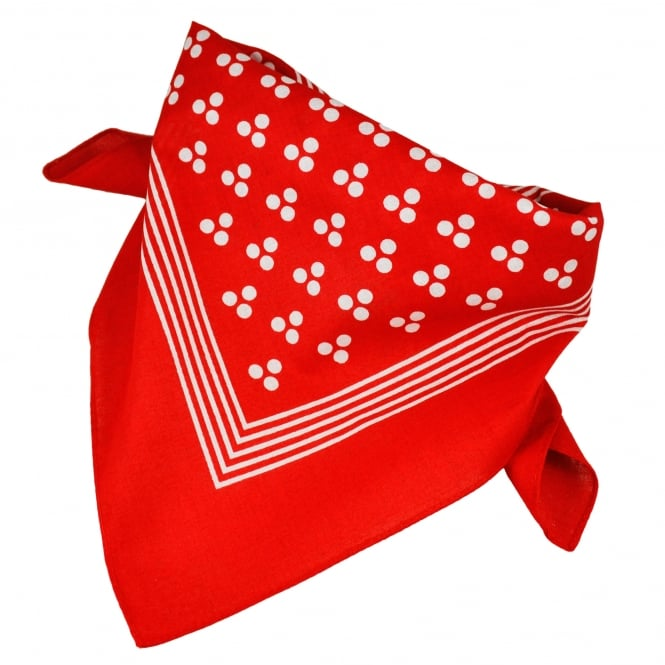 Red With White 3-Dot & Stripes Bandana Neckerchief