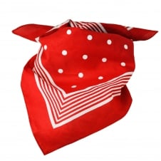 Red With White Stripes & Polka Dot Bandana Neckerchief