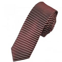 Red With White Stripes Skinny Tie