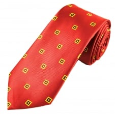 Red, Yellow & Burgundy Square Patterned Men's Tie