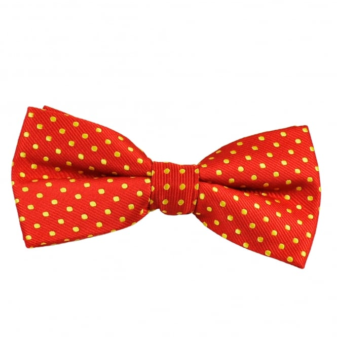 Red & Yellow Polka Dot Boys Bow Tie