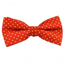 Red & Yellow Polka Dot Men's Bow Tie