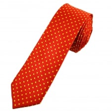 Red & Yellow Polka Dot Men's Skinny Tie