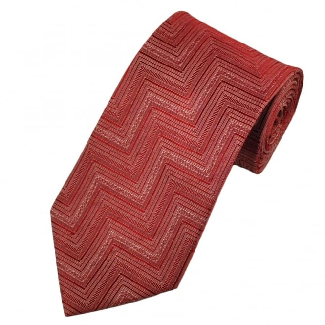 Red Zig Zag Chevron Striped Patterned Boys Tie