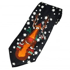 Reindeer Navy Blue Men's Novelty Christmas Tie
