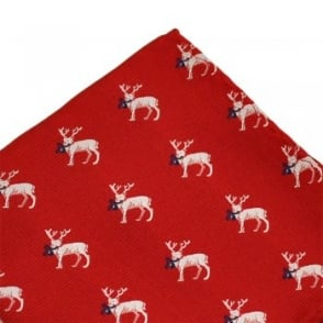 Reindeer Red Christmas Pocket Square Handkerchief