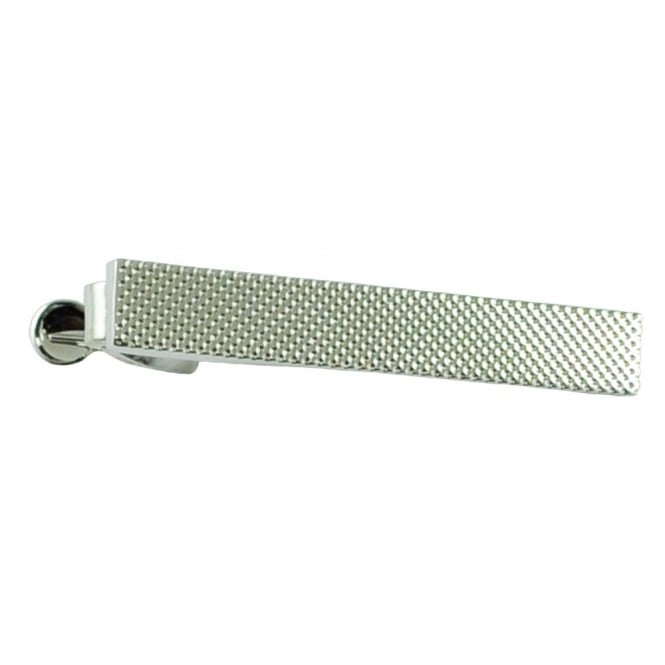 Rhodium File Effect Tie Bar