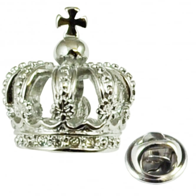 Rhodium Plated 3D Crown Lapel Pin Badge