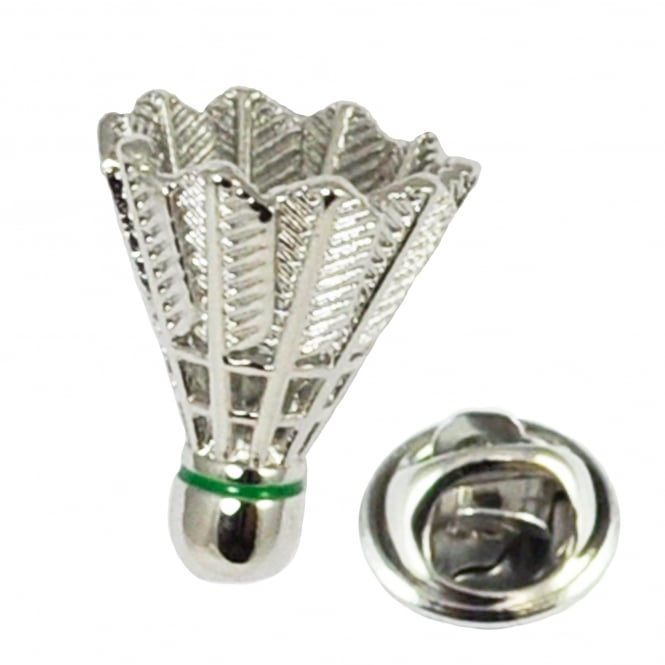 Rhodium Plated Badminton Shuttlecock Lapel Pin Badge