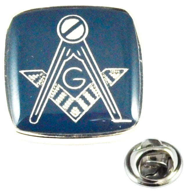 Rhodium Plated & Blue Masonic With G Lapel Pin Badge