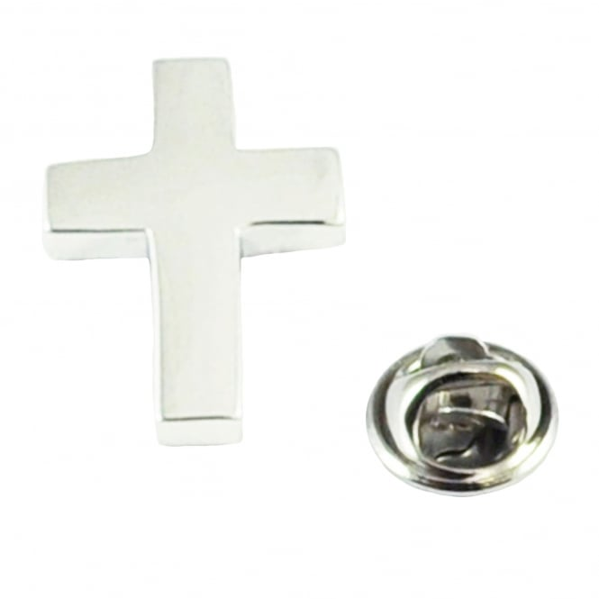 Rhodium Plated Christian Cross Lapel Pin Badge
