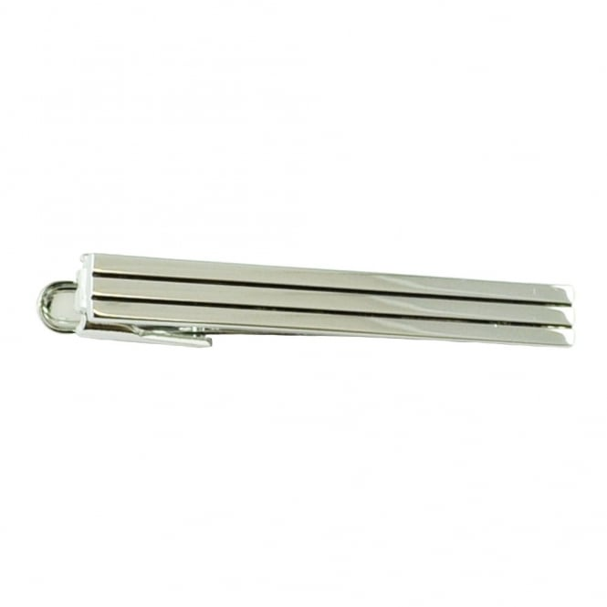 Rhodium Tri-Stiped Tie Bar
