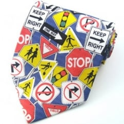 Road Signs Silk Novelty Tie