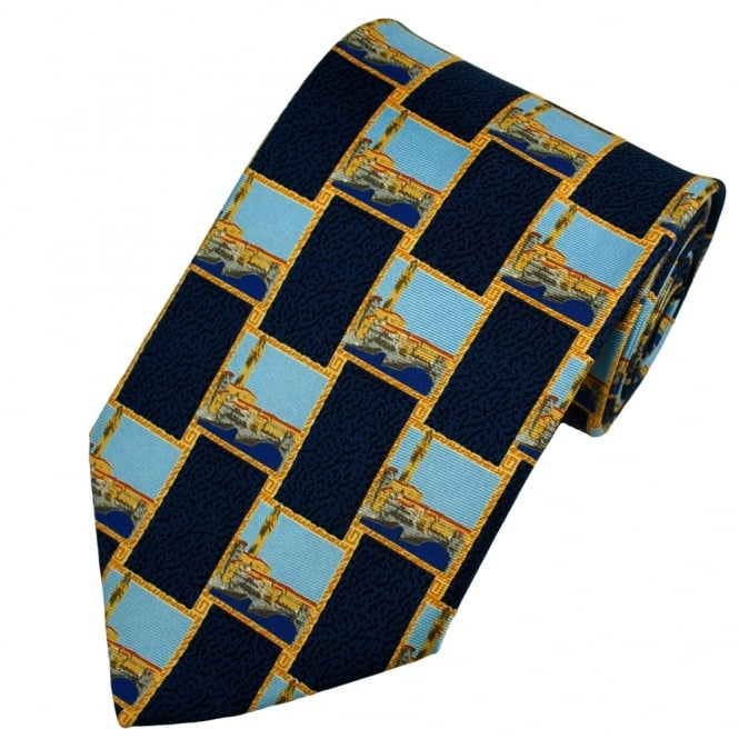 Royal Academy of Arts - Paul Hogarth London Themed Navy Blue Silk Tie