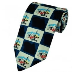 Royal Academy of Arts Paul Hogarth London Themed Novelty Blue Silk Tie