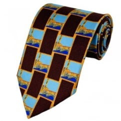 Royal Academy of Arts Paul Hogarth London Themed Novelty Burgundy Silk Tie