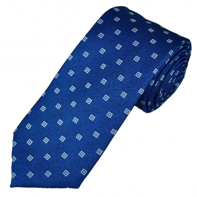 Royal Blue, Black, White & Blue Patterned Men's Tie