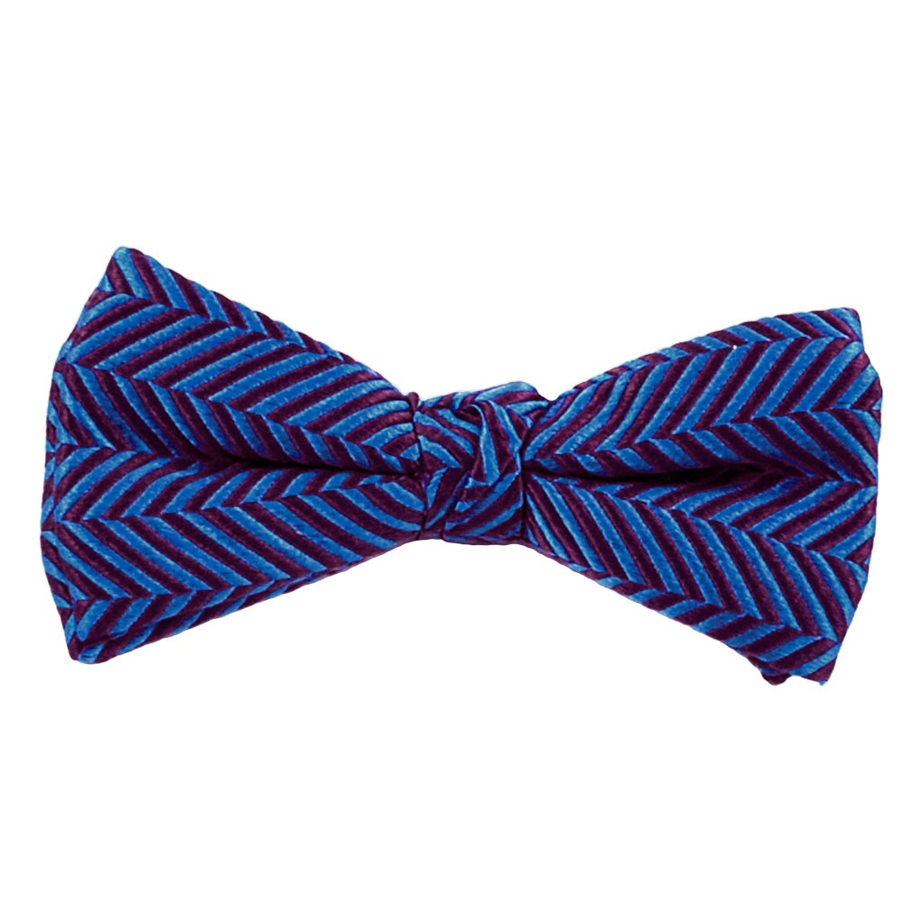 royal blue burgundy chevron patterned silk bow tie from