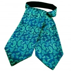 Royal Blue, Green & Silver Paisley Patterned Casual Day Cravat