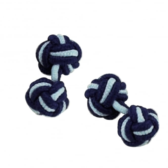 royal blue and light blue elastic knot cufflinks