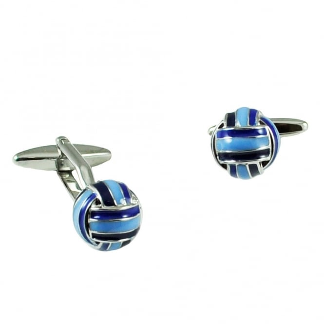 Royal Blue & Light Blue Retro Football Cufflinks