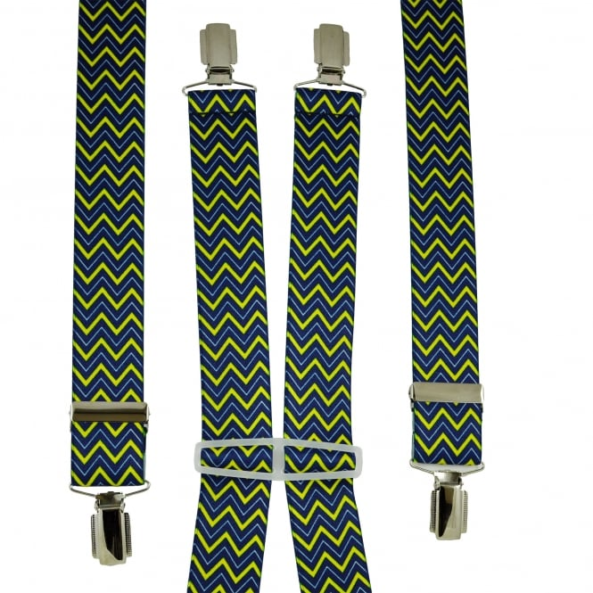 Royal Blue, Light Blue & Yellow Zig Zag Patterned Men's Trouser Braces