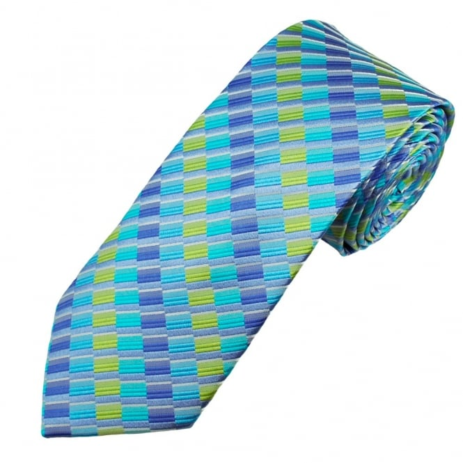 Royal, Blue, Lime & Jade Green Striped Pattern Men's Silk Tie
