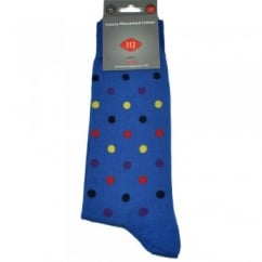 Royal Blue & Multi Coloured Spots Men's Socks by HJ Hall Size: 7-10