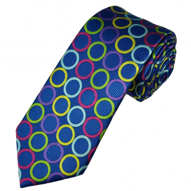 Royal Blue, Pink, Green, Purple & Yellow Circles Patterned Men's Tie