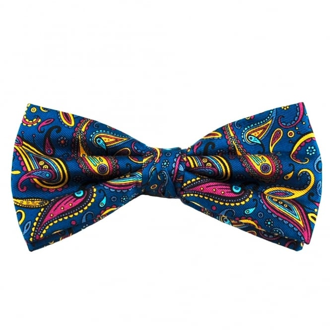 Royal Blue, Pink & Yellow Large Paisley Silk Bow Tie