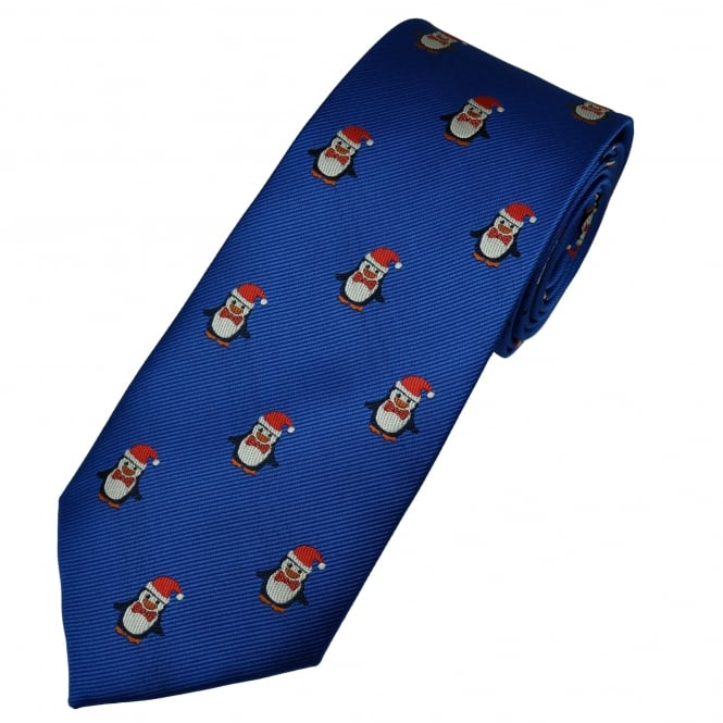 Royal Blue Pollux The Penguin Men's Novelty Christmas Tie
