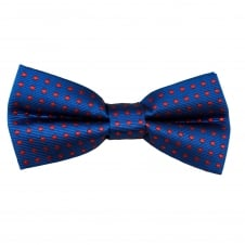Royal Blue & Red Polka Dot Boys Bow Tie