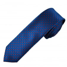 Royal Blue & Red Polka Dot Boys Skinny Tie