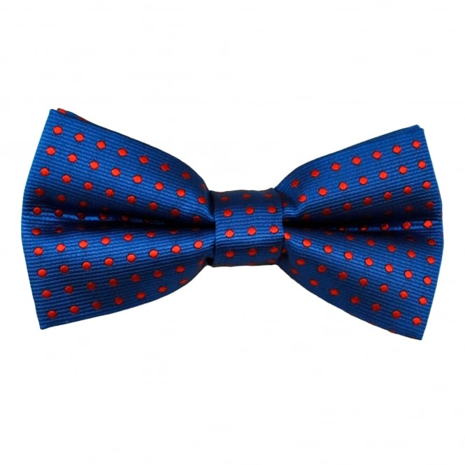 Royal Blue & Red Polka Dot Men's Bow Tie