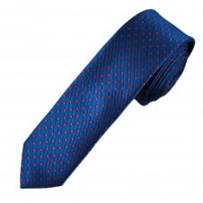 Royal Blue & Red Polka Dot Men's Skinny Tie