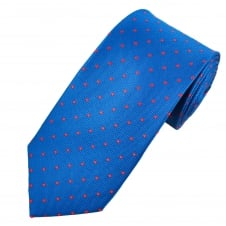 Royal Blue & Red Polka Dot Silk Tie