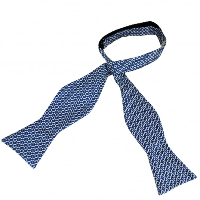 Royal Blue & Silver Patterned Self Tie Silk Bow Tie