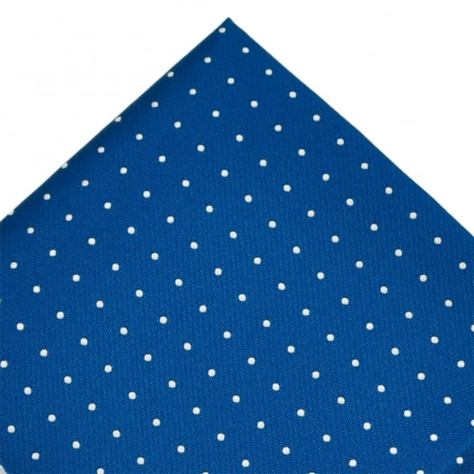 Royal Blue & Silver Polka Dot Pocket Square Handkerchief