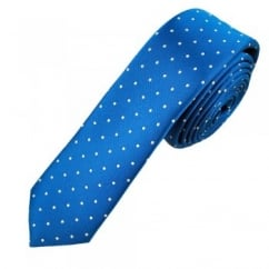 Royal Blue & Silver Polka Dot Skinny Men's Tie