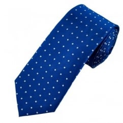Royal Blue & Silver White Polka Dot Men's Silk Tie