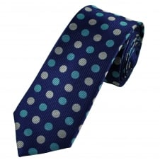 Royal Blue, Sky Blue & Silver Circles Patterned Men's Luxury Silk Tie
