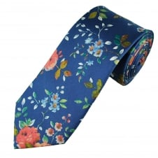 Royal Blue Vintage Flower Patterned Men's Luxury Silk Tie
