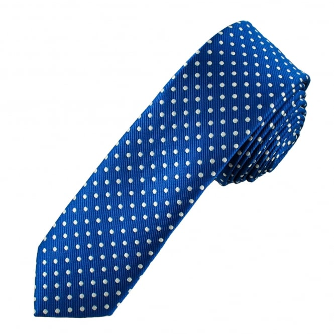 Royal Blue & White Polka Dot Boys Skinny Tie