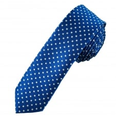 Royal Blue & White Polka Dot Men's Skinny Tie