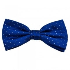 Royal Blue & White Polka Dot Silk Bow Tie