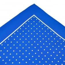 Royal Blue & White Polka Dot Silk Pocket Square Handkerchief