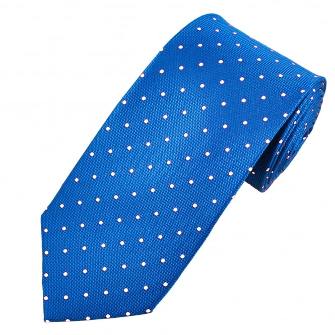 Royal Blue & White Polka Dot Silk Tie