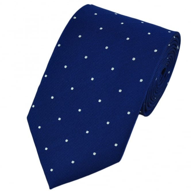 Royal Blue & White Silk Polka Dot Tie
